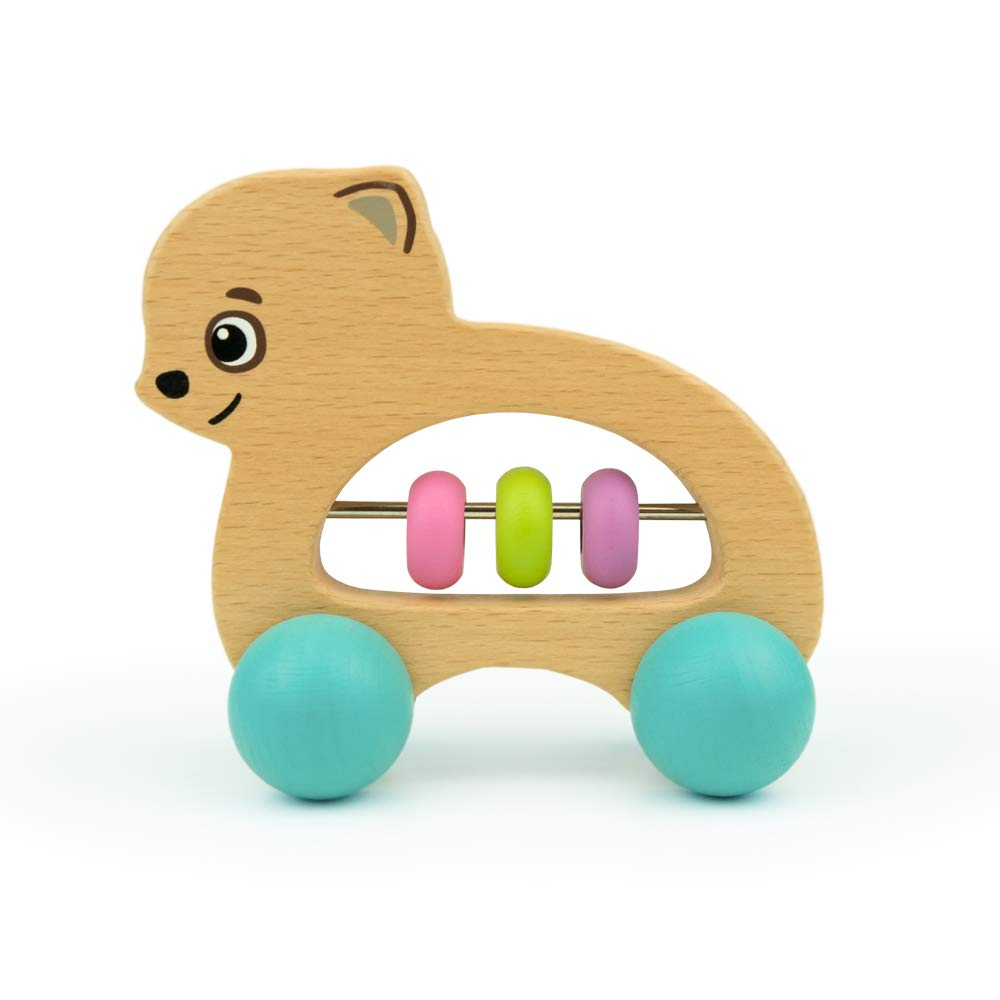 Bimi Boo Baby Rattles and Teethers - Wooden Baby Toys - Tummy Time Toys - Infant Toys, Dog (Natural Beech Wood, Water-Based Paint)