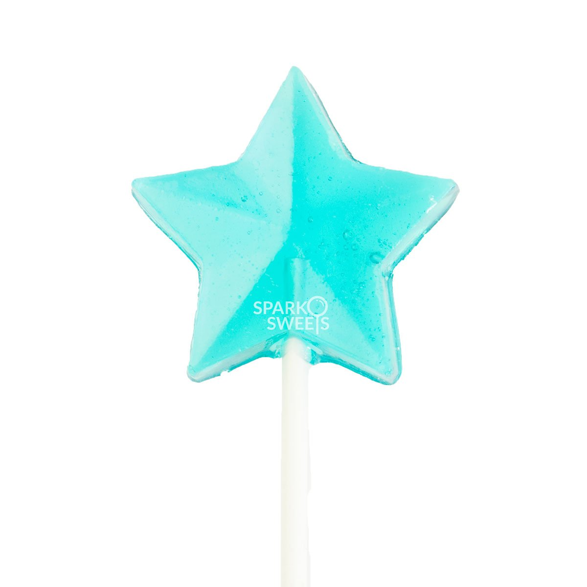 """Sparko Sweets Baby Blue Star Lollipops, Blue Raspberry Flavor, 2"""" Lollipop, Handcrafted in USA, 24 Pieces, 1.5 lbs."""