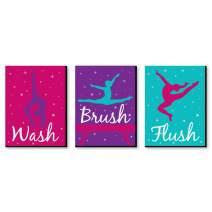 Big Dot of Happiness Tumble, Flip and Twirl - Gymnastics - Kids Bathroom Rules Wall Art - 7.5 x 10 inches - Set of 3 Signs - Wash, Brush, Flush