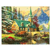 TOCARE Adult Acrylic Paint by Numbers Kits for Adults On Canvas 16x20inches Countryside House in Mountain