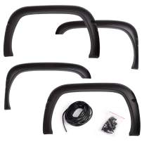 G-PLUS Textured Black Wheel Fender Flare Paintable ABS Smooth Black 4PCS for 1994-1999 2000 2001 Dodge Ram 1500 2500 3500