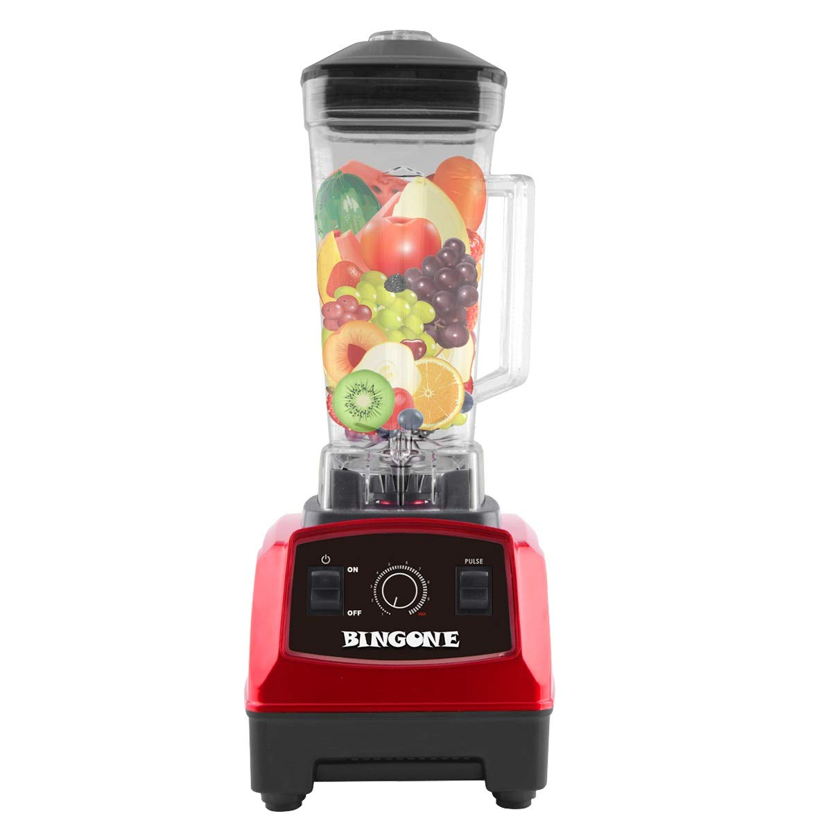 Bingone Commercial Blender,Professional Table Electric 28000 RPM High Speed Smoothie Mixer System with 2.0 Liter BPA-Free FDA Approved Tritan Jar, Nutrition Fruit/Vegetable Juice Maker(Red)