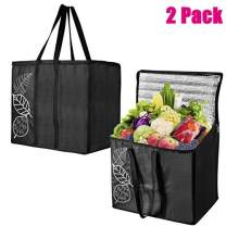 GroceryBags,Food Delivery Grocery Bag 2 Pack Collapsible Extra Large Reusable Shopping Tote Zipper TOP LID for Hot or Cold Food Reinforced - 600D Oxford Cloth Made - 32ounce