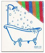 Wet N Scrub New Swedish Dishcloth with Scrubby Non-Scratching Scouring Pad Combined (Blue Bathtub)