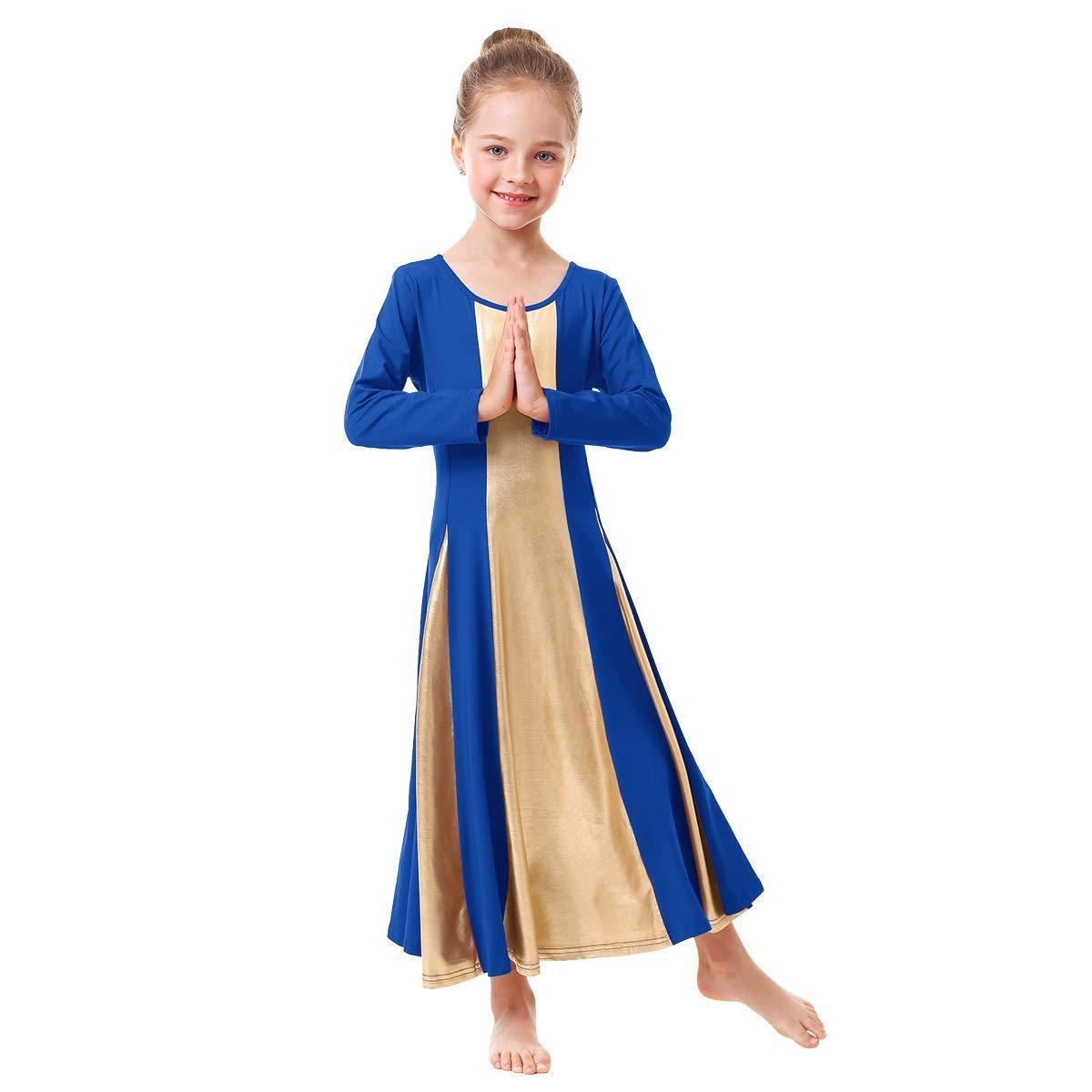 IBAKOM Little/Big Girls Metallic Gold Liturgical Praise Dance Dress Loose Fit Full Length Worship Tunic Circle Costume