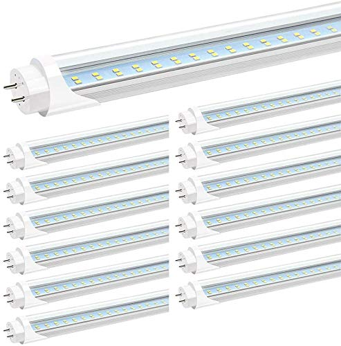 JESLED T8 4FT LED Tube Light, Clear Cover, 24W 6000K Cool White, Dual-end Powered G13 Base (12Pack-6000K)