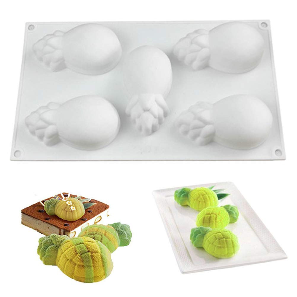 Silicone Mold for Baking 3D Pineapple Shape Mousse Cake Chocolate Pastry Dessert Mold (5 Cavity)