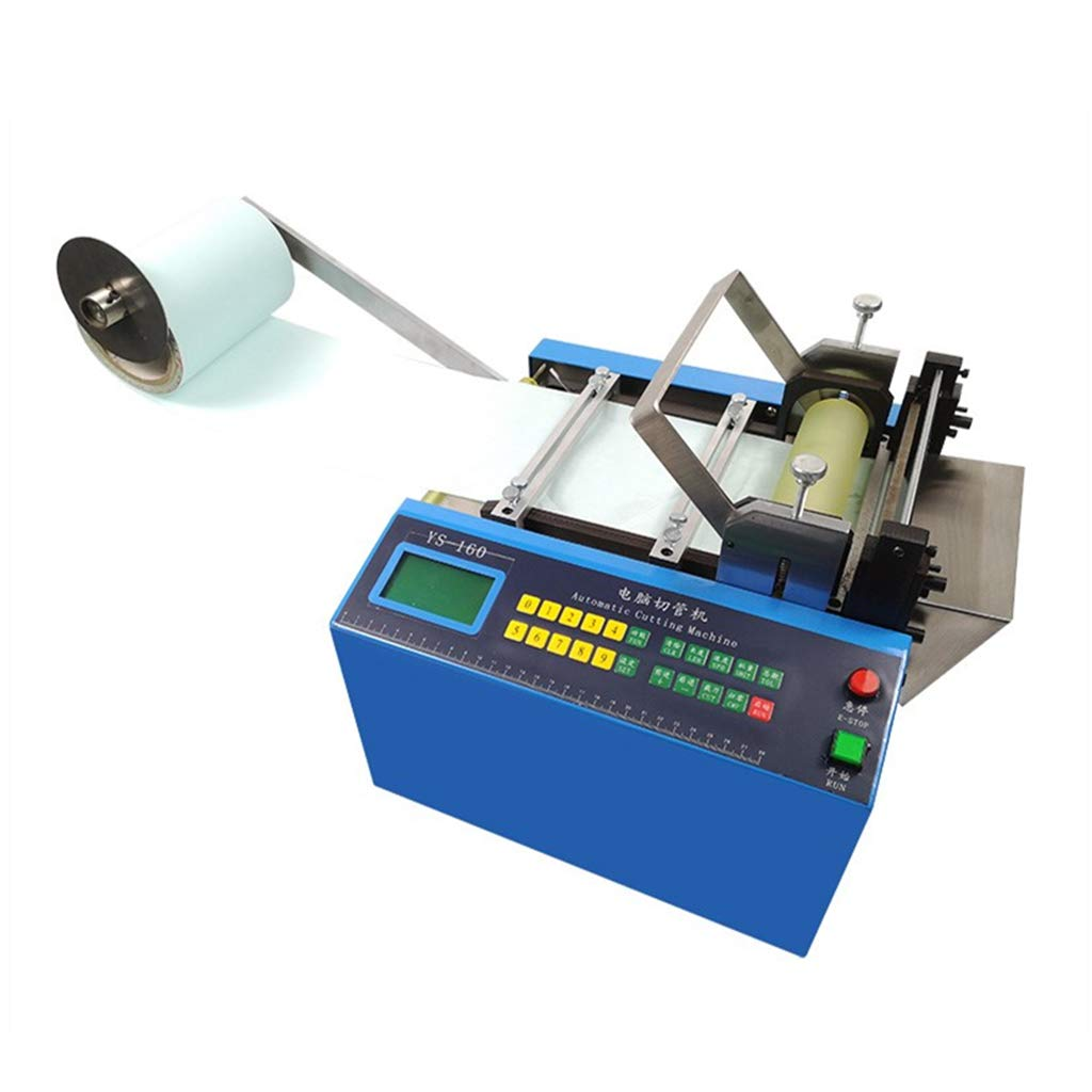 MXBAOHENG Auto Heat-Shrink Tube Cable Pipe Cutting Machine Auto Tube Pipe Cutter YS-160 for Belt/Wire/Sheet/Film/Tape/Sleeve/Rubber/Plastic Webbing Cutting Width:0-160mm 250W (220V)