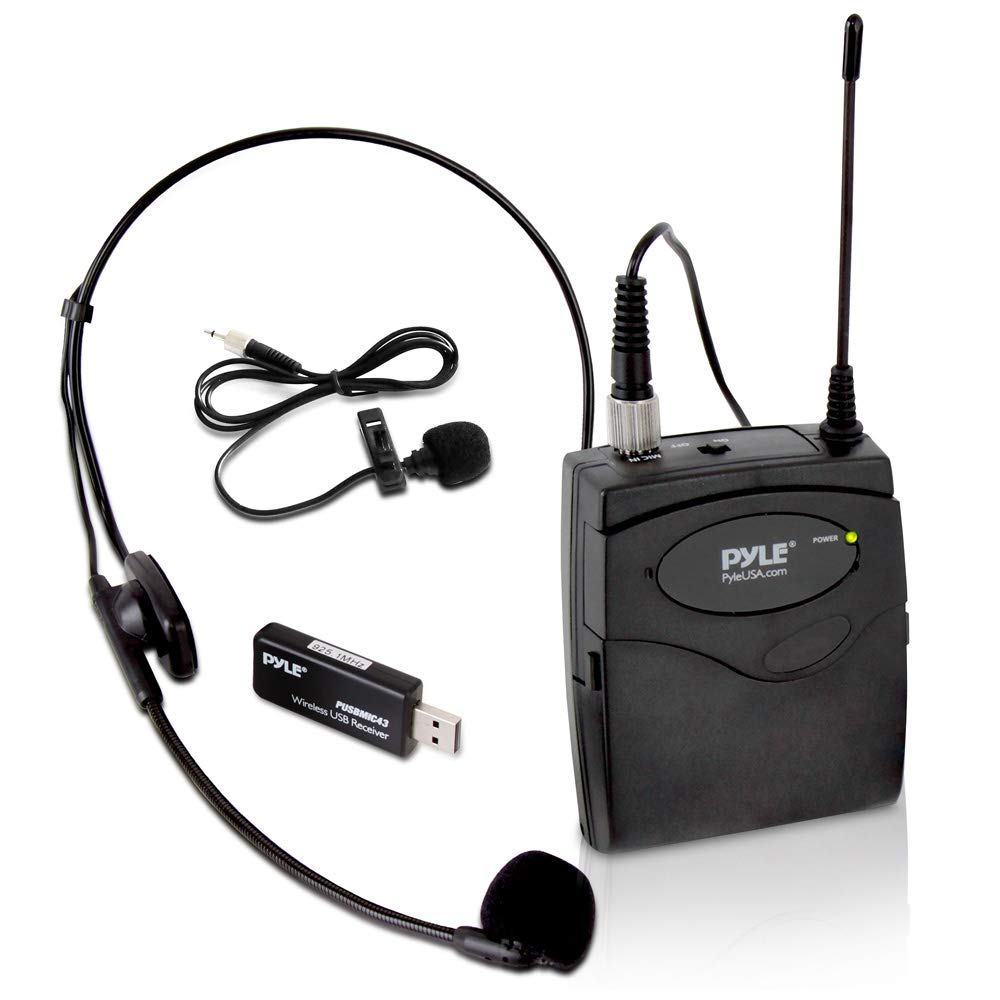 Pyle PUSBMIC43 Belt Pack Wireless Microphone System - Mic Set w/ USB Receiver, Transmitter, Headset & Clip Lavalier Lapel Mic, Audio Cable, Two 'AA' Battery - Great for Karaoke, PA, Dj Party-Black