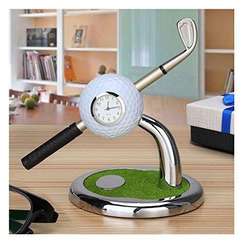 Golf Ball Pen Holder with Clock, Business Gifts Office Desktop Golf Pen Stand Miniature Model Decoration, Unique Gifts for Golfer Golf Club Fans Souvenir Women Men - White