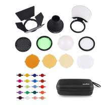 Godox AK-R1 Accessories Kit with PERGEAR Color Effect Gel Kit for for Godox V1 Series Flash V1-C V1-S V1-F V1-N V1-O V1-P Speedlite,AD200 AD200PRO with H200R Ring Flash Head