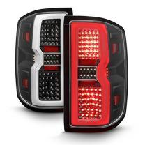 For 2014-2019 Chevy Silverado | GMC Sierra LED Light Bar Tail Lights Lamps - Black Pair Left+Right
