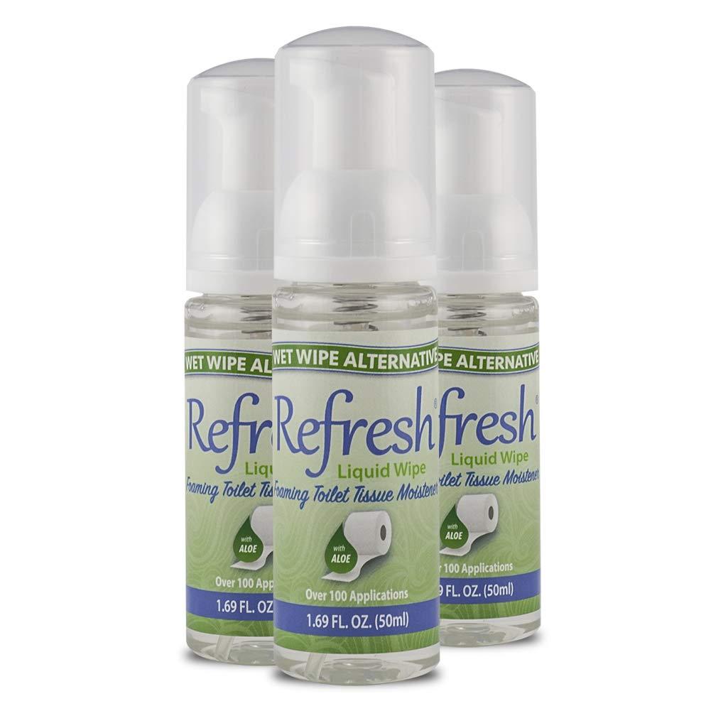 Refresh Liquid Wipe - Wet Wipe Alternative - Toilet Tissue Moistener Foam 50ml (3 Pack). Works on Any Toilet Tissue for a Custom Wipe!