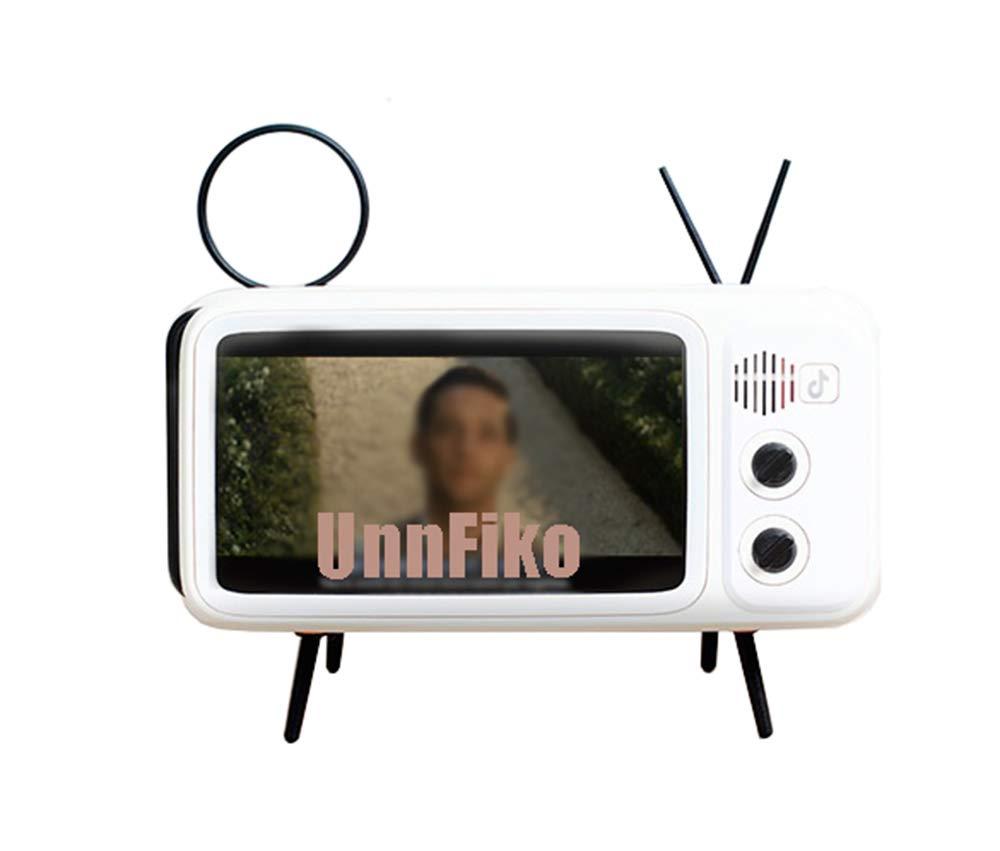 UnnFiko Retro TV Style Stand Holder, Cartoon Desktop Bracket Desk Mount, Universal for iPhone X 6 6s 7 8 Plus Xs XR 11 Pro Max (TV White)