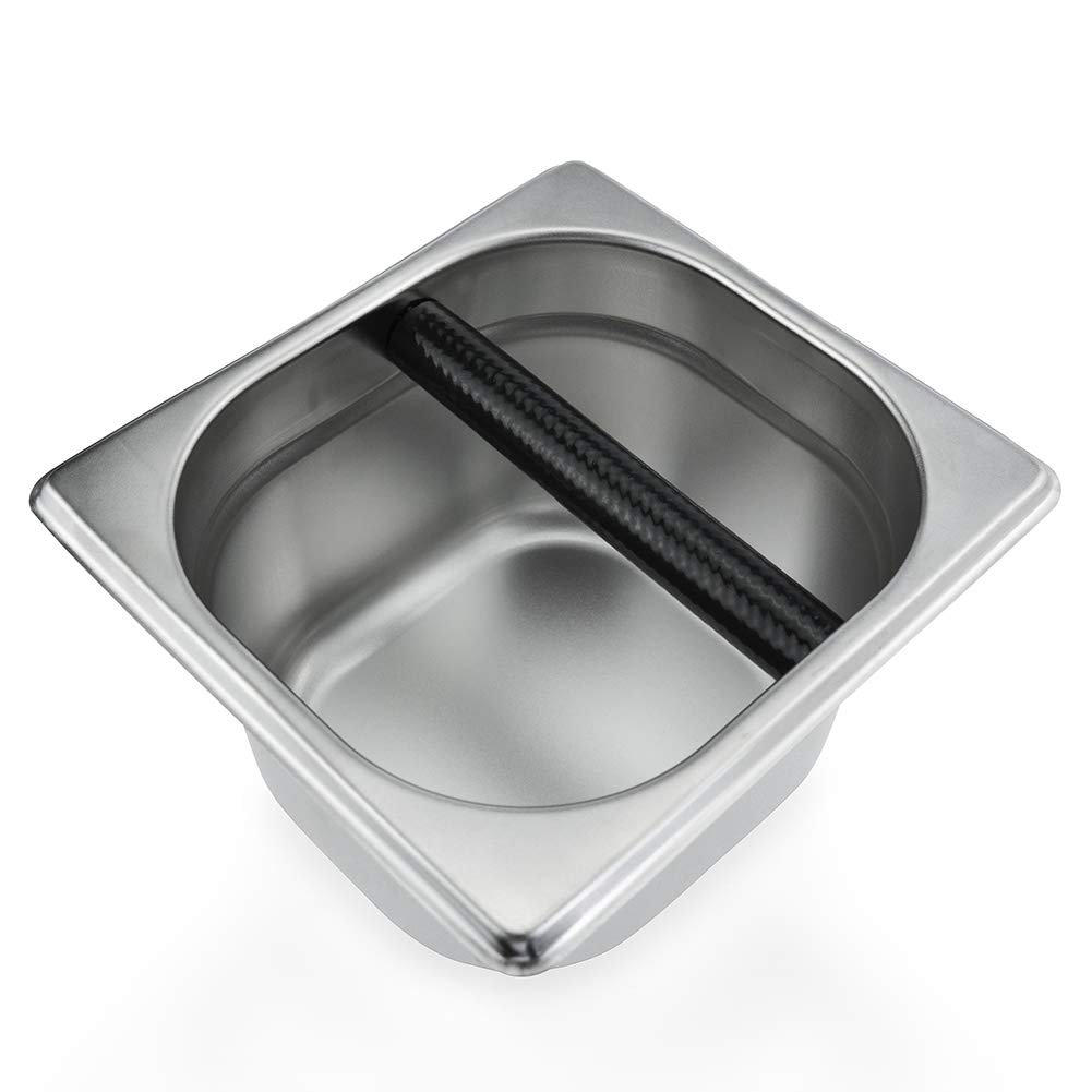 Coffee Knock Box Stainless Steel Espresso Knock Box Container for Coffee Ground - 6.3 x 6.89 x 3.7 inch