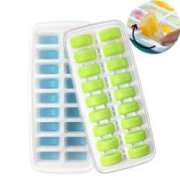 Homeditor Ice Cube Trays 2 Pack Stackable Ice Trays With Removable Lids for Freezer Easy-Release Plastic And Silicone 36 Ice Cubes, Special Half Moon Bottom Design