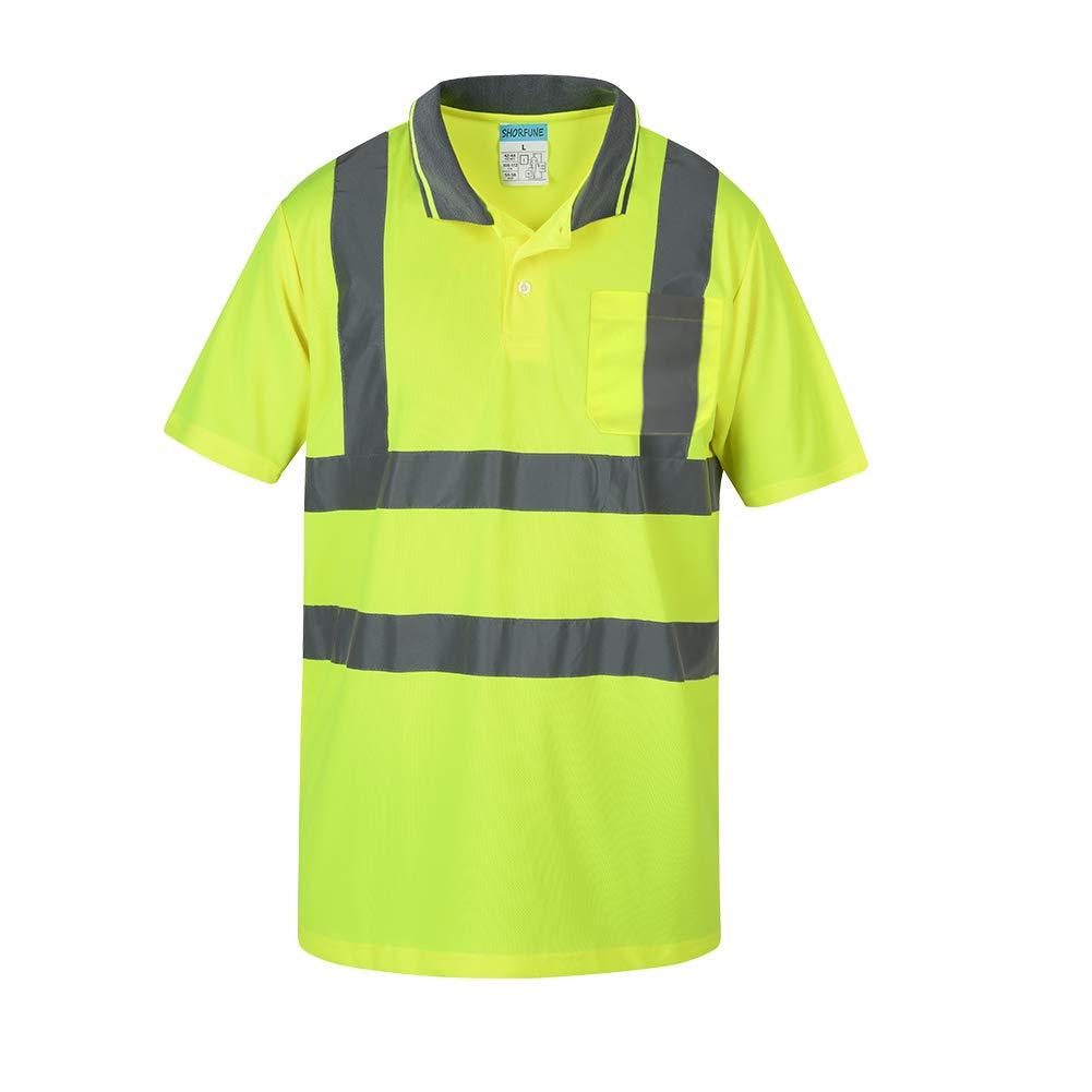 SHORFUNE Reflective Safety Polo Shirt Class 2 Hi Vis Short Sleeve, Yellow, XXL