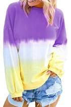 Nicetage Women Long Sleeve Sweatshirt Crewneck Tie Dye Shirt Casual Loose Colorblock Pullover Blouse Tops