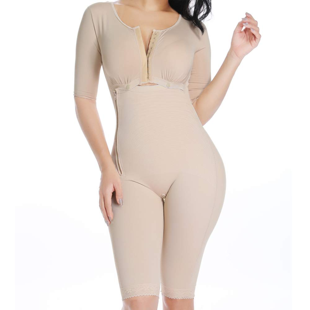Women's Full Body Shapewear Bodysuit Post Surgery Compression Garment Firm Control Body Shaper with Sleeves