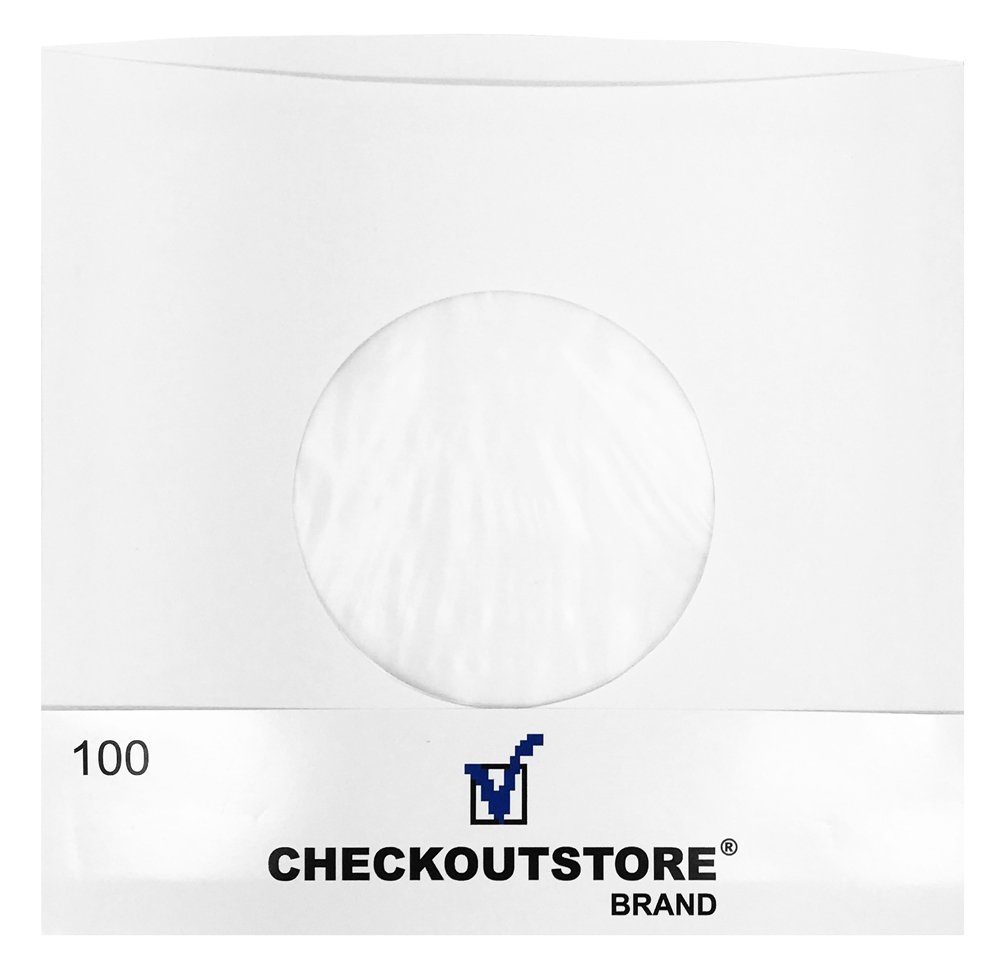 "CheckOutStore (100) Paper Record Inner Sleeves with Hole for 7"" Vinyl 45 RPM Records (Polylined)"
