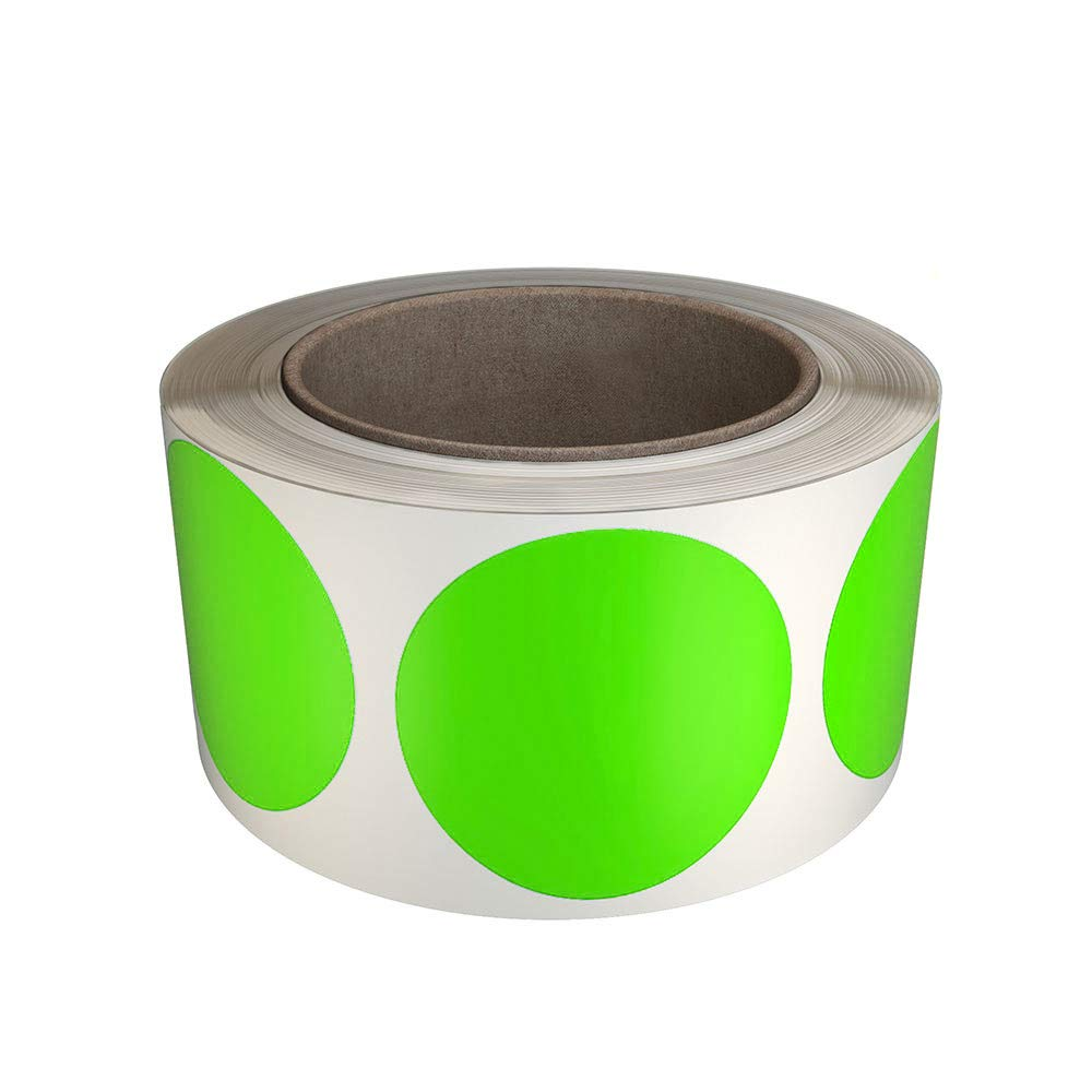 Royal Green Colored dot Stickers 2 inch roll Fluorescent Labels in Green 5cm (50mm) - 600 Pack