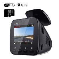 AKASO V1 WiFi Dash Cam with GPS, 1296P Full HD Dash Camera for Cars with 16GB Memory Card Included Phone App 170° Wide Angle Super Night Vision Loop Recording G-Sensor Parking Monitor