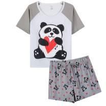 VENTELAN Pajamas for Women Cute Cartoon Sleep Tee Shirt Shorts Set Summer Sleepwear