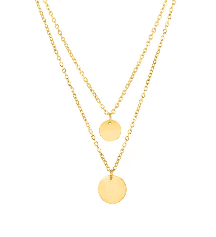 Dainty Disc Chokers Necklace Layered Circle Necklace Bar Y Heart Pendant Necklace 14K Real Gold Plated Necklace for Women