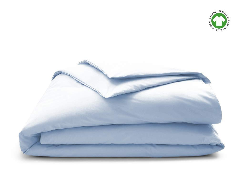 Organic Duvet Cover 350 Thread Count Cal King Sky Blue [GOTS Certified] - Premium Organic Cotton - Decorative Comforter Protector Cover - Sateen Weave Finish - Made in India