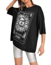 Nicetage Oversized T Shirts for Women Graphic Tees Casual Loose Short Sleeve Round Neck Tie Dye Tops