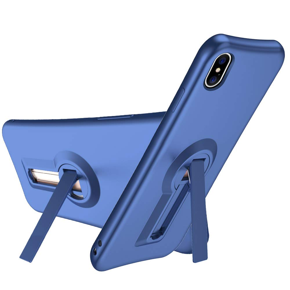 iPhone Xs Case, iPhone X Case, NOHON Kickstand Case [Vertical and Horizontal Stand] [Reinforced Drop Protection] [Air Cushion Corners] with Flexible TPU Bumper for iPhone X XS - Blue