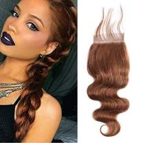 """Valentines Day Gifts Aigemei Peruvian Medium Brown 4x4 Lace Closure Body Wave Free Part Human Hair Lace Closure with Baby Hair (16"""" Closure, Medium Brown 4Color)"""
