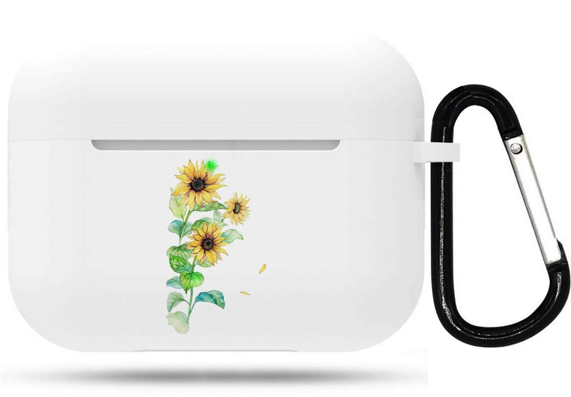 for Airpods Pro Case - Cute Flexible Protector Silicone Holder Cover with Keychain Accessories Compatible with Airpods Pro Air Pods 3 Sunflower