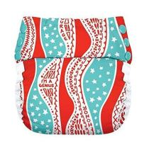 Flip Reusable Potty Training Cloth Diaper - Shell with Side Panels (Mary/White)