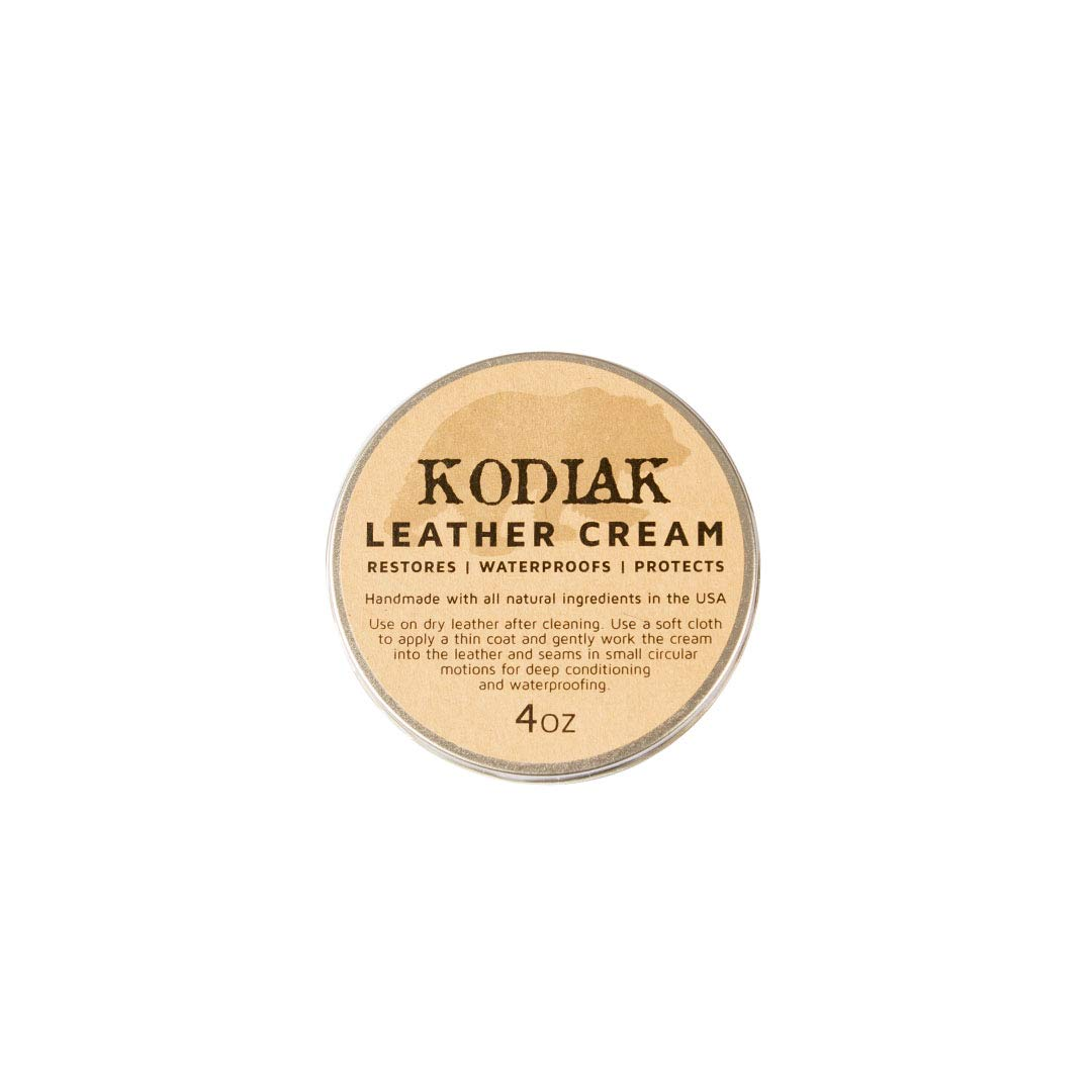 Leather Conditioning Cream - Kodiak Leather Natural, Hydrating Leather Care - Waterproofs, Restores, Protects Your Leather Products