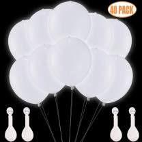 TECHSHARE LED Light Up Balloons White 40 Pack, Glow in The Dark Balloons for Wedding Birthday Party Supplies Decorations - Can be Filled with Helium, Air