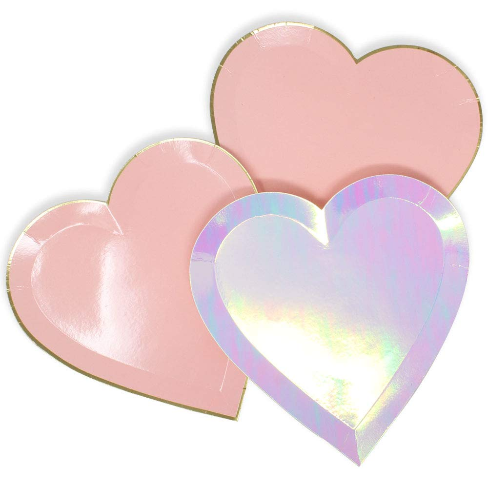 Just Artifacts 24pcs Assorted Heart Shaped 9-Inch Party Paper Plates - Decorative Tableware for Birthday Parties, Baby Showers, Grad Parties, Weddings, and Life Celebrations!