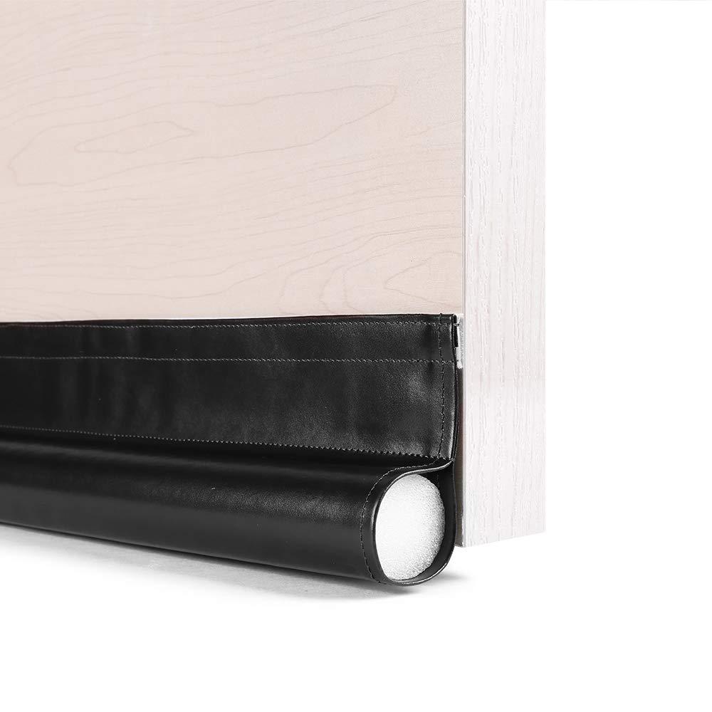 GNEGNI One Sided Door Draft Stopper,36 Inch Single Draft Noise Blocker for Doors Windows(Black