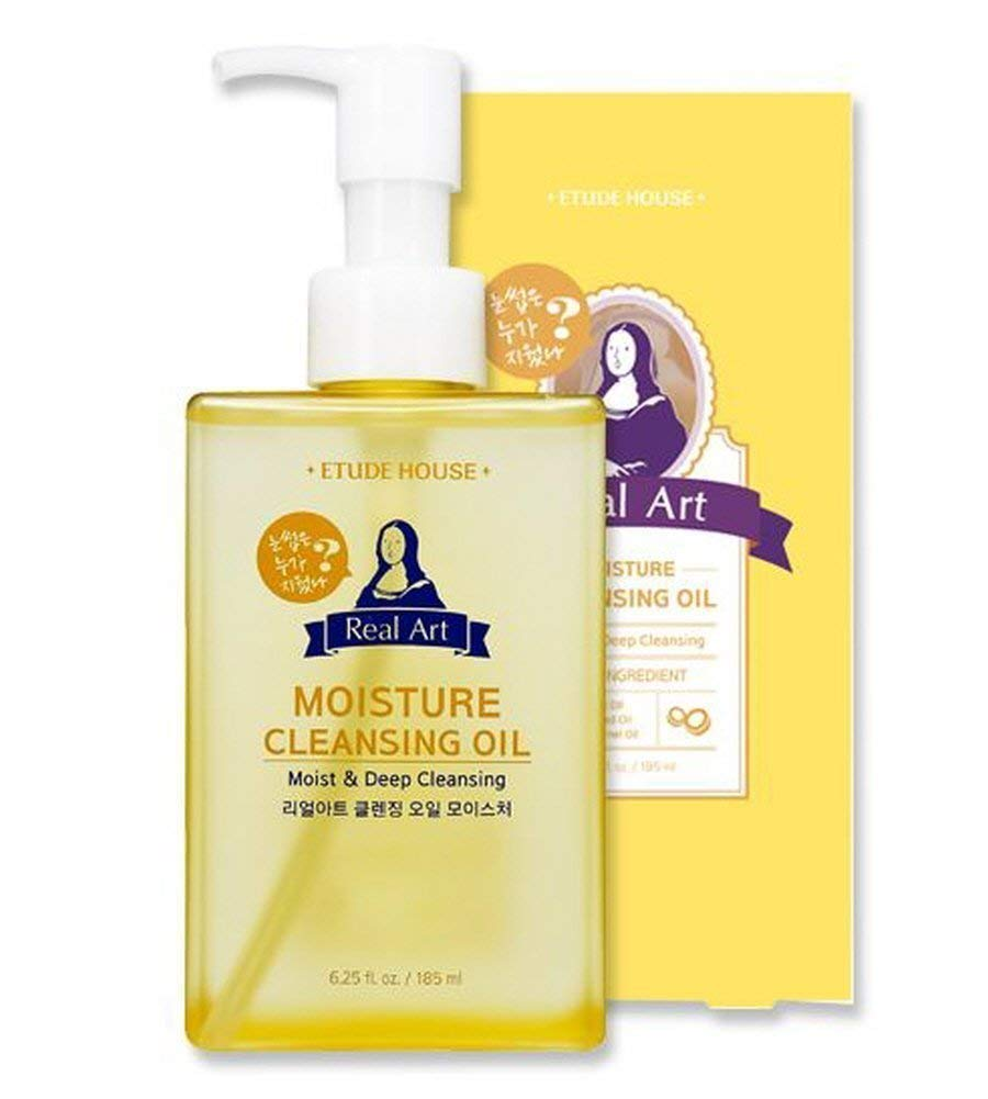 Etude House Real Art Cleansing Oil Moisture 185ml - Moist type cleansing oil effective for removing dead skin cells, cleansing away makeup residue and old skin cells
