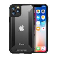 Mosafe for iPhone 11 Pro Case, Heavy Duty Protection Soft Scratch-Resistant & Anti-Fingerprints Back Cover Case Rugged Clear Shockproof Bumper Case for iPhone 11 Pro 5.8 Inch(Black)
