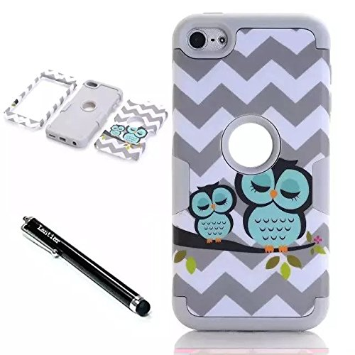 iPod Touch 6th Generation Case,Lantier 3 Layers Verge Hybrid Soft Silicone Hard Plastic TUFF Triple Quakeproof Drop Resistance Protective Case Cover with Stylus Waves Owl/White