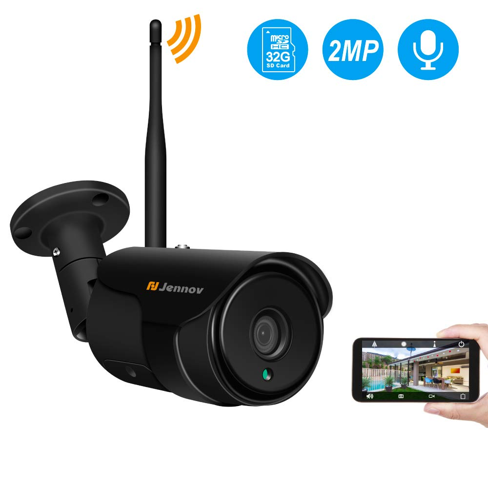 Jennov WiFi Security Camera Outdoor 1080P CCTV Home Surveillance Wireless Cameras Two-Way Audio,IP66 Waterproof,Night Vision,Motion Detection Email Alarm