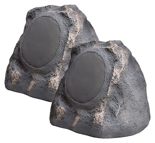 """OSD Audio 6.5"""" 150W Outdoor Rock Speaker - Water Resistant Stereo, Pair, Slate Dark Grey - RS670"""