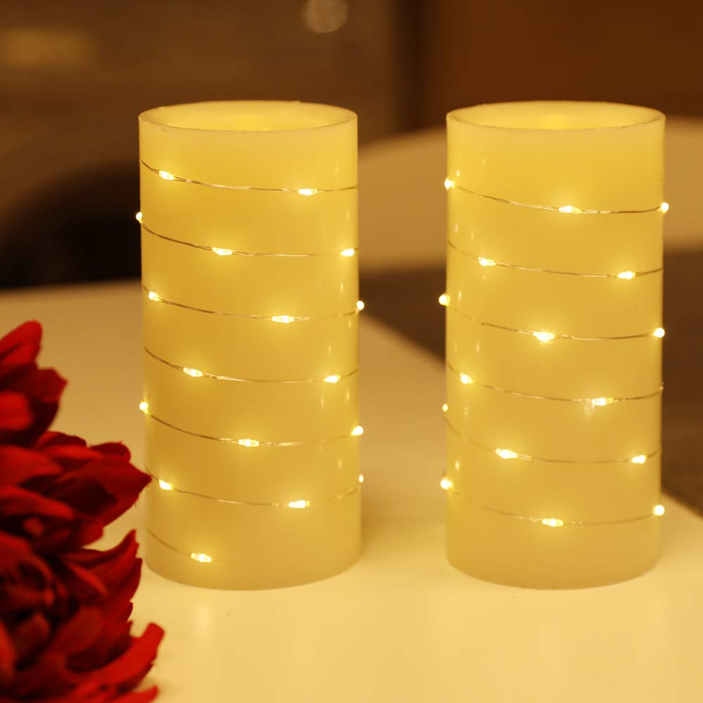 """Flameless Candles Battery Operated and String of White Led Lights Wrapped Around Real Wax Pillar Candles with Cycling 5H Timer Pack of 2 (3""""×6"""")"""