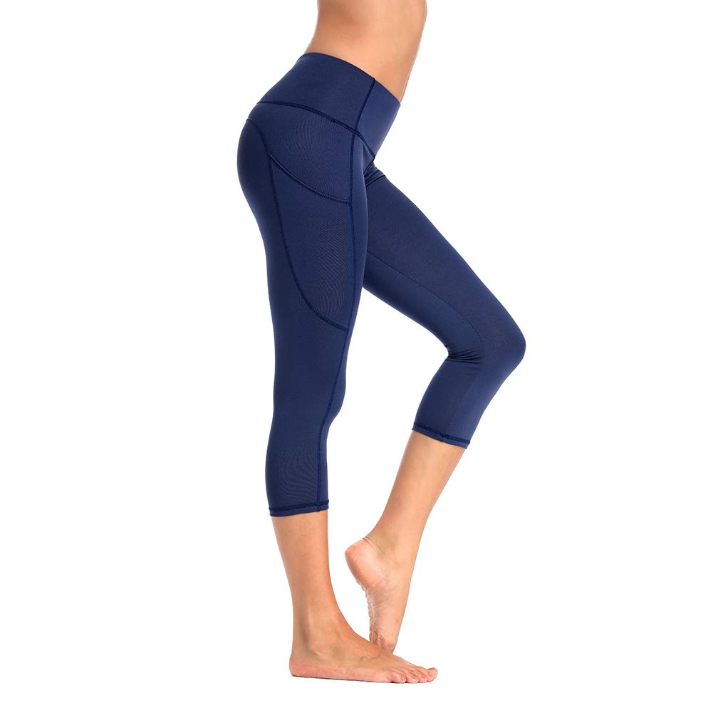 MOLYBELL High Waist Yoga Pants Capri, Pocket Yoga Pants Tummy Control Workout Running 4 Way Stretch Yoga Leggings