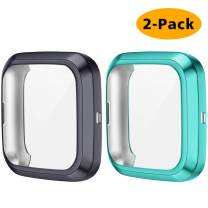 CAVN 2 Packs Case Compatible with Fitbit Versa 2 Screen Protector, Full Coverage Soft TPU Protective Screen Cover Saver Bumper Frame Accessories for Versa 2 Smartwatch Only (Charcoal/Olive)