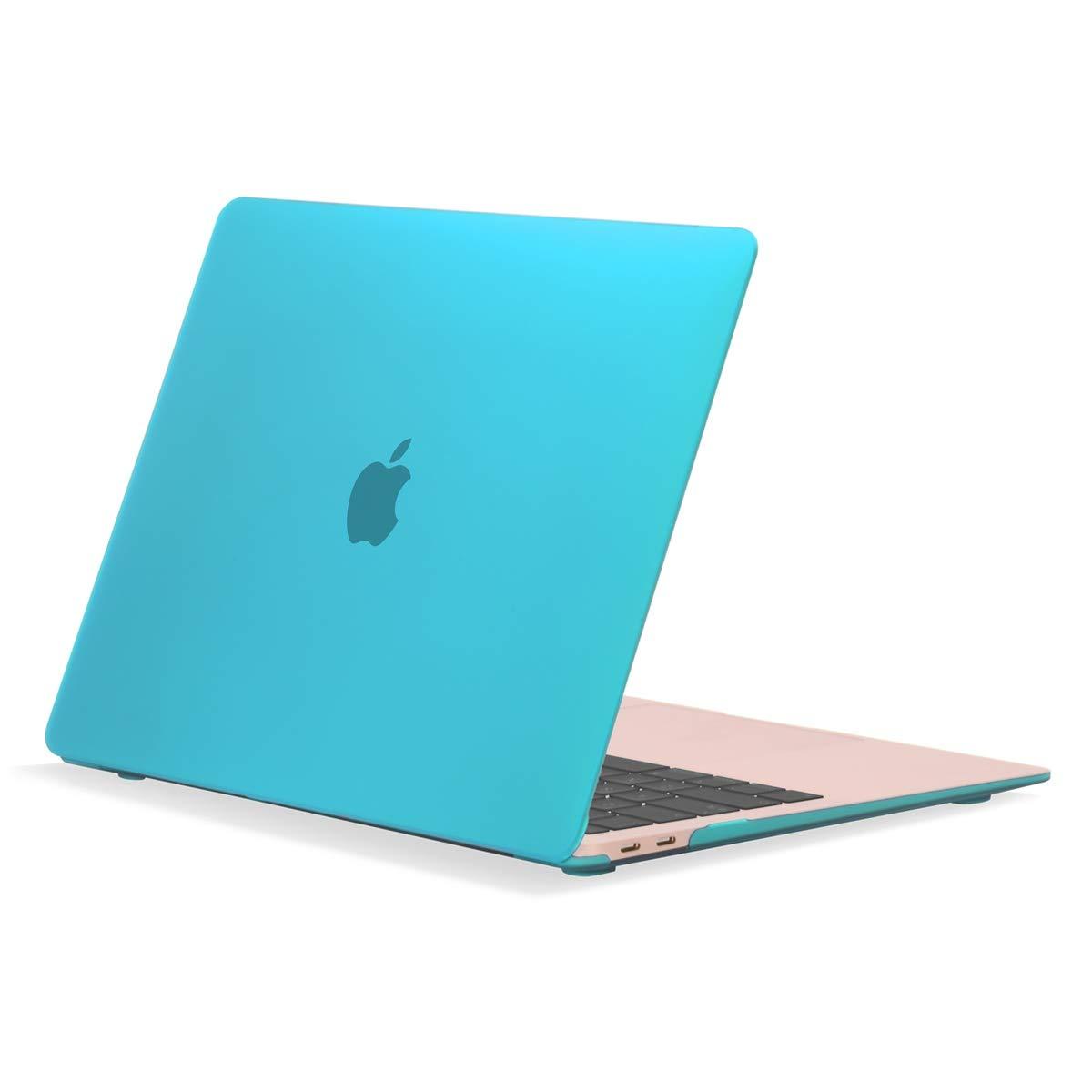 """TOP CASE MacBook Air 13 Inch Case 2019 2018 Release A1932 Retina Display, Classic Series Rubberized Hard Case Compatible MacBook Air 13"""" with Retina Display fits Touch ID Model: A1932 - Aqua Blue"""