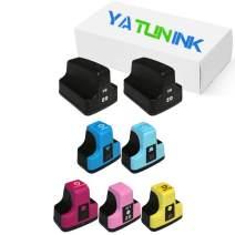 YATUNINK Remanufactured Ink Cartridge Replacement for HP 02 Black and Color Ink Cartridges for PhotoSmart D7168 3210 8250 C6150 D7360 C8180 D7260 C7180 C7280 C6250 D7460 C6100 (7 Pack)