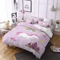 Jessy Home Duvet Cover 3 Piece Full Size Rainbow Unicorn Quilt Cover Castle Bedroom Decora for Girls Children Gift Cartoon 3D Cute Bedding Set Violet (2Pillow Cases)