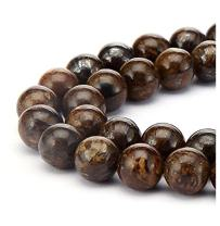 2 Strands Natural Brown Bronzite Gemstone 6mm (0.24 inch) Round Loose Stone Beads (~ 116-124pcs total) for Jewelry Craft Making GF16-6